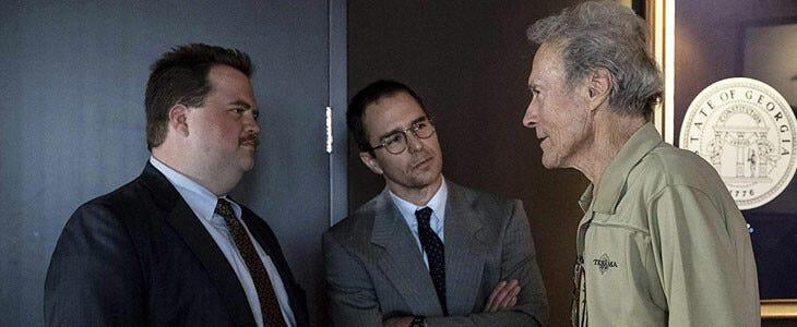Paul Walter Hauser, Sam Rockwell et Clint Eastwood sur le tournage du cas Richard Jewell