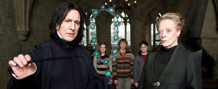 Professeur Rogue et professeur McGonagall dans Harry Potter et le Prince de Sang-Mêlé
