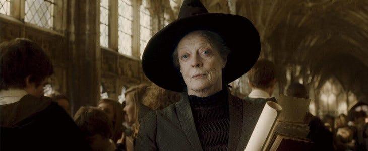 Maggie Smith dans le rôle du professeur McGonagall dans Harry Potter et le Prince de Sang-Mêlé