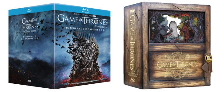 Coffrets intégrale Game of Thrones.