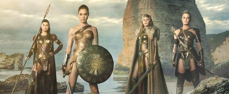 Gal Gadot, Robin Wright et Connie Nielsen dans le premier opus de Wonder Woman