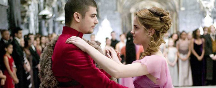 Stanislav Ianevski e Emma Watson en Harry Potter e The Fire Cut