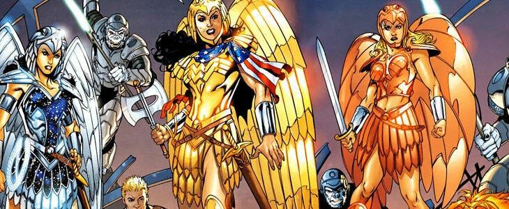 Wonder Woman et deux Wonder Girls en armure