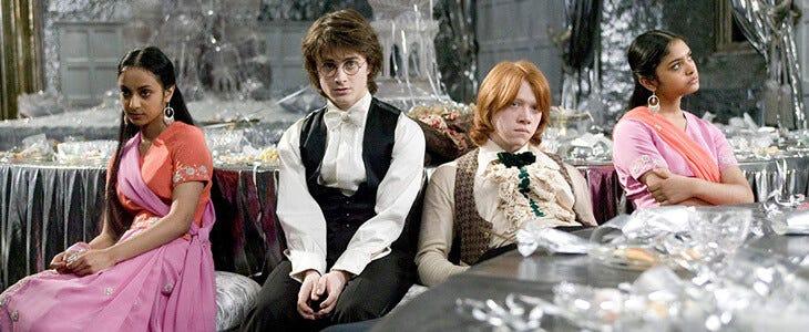 Daniel Radcliffe et Rupert Grint dans Harry Potter et la Coupe de Feu.