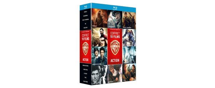 Coffret 10 films d'action Warner - Godzilla - San Andreas - Edge of Tomorrow - 300 - Pacific Rim - Sherlock Holmes - L'Arme Fatale - Le Fugitif - Troie - Black Storm