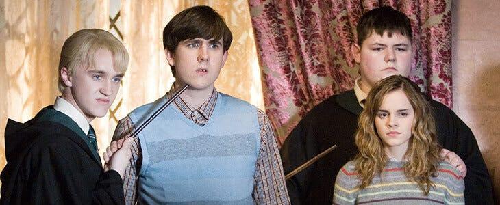 Tom Felton, Matthew Lewis et Emma Watson dans Harry Potter et l'Ordre du Phenix