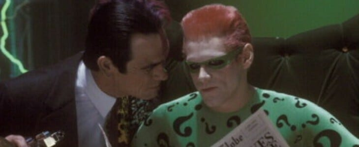 Jim Carrey et Tomy Lee Jones dans Batman Forever.