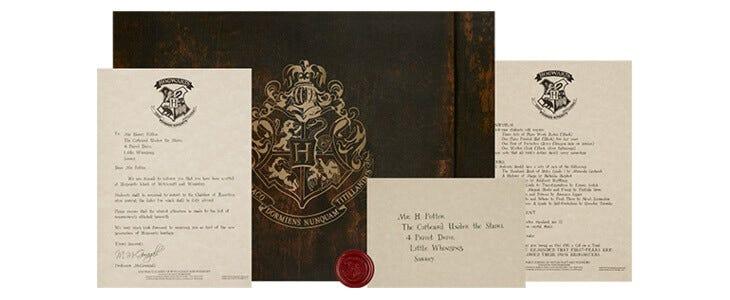 Commander votre lettre d'admission personnalisée sur The Harry Potter Shop !