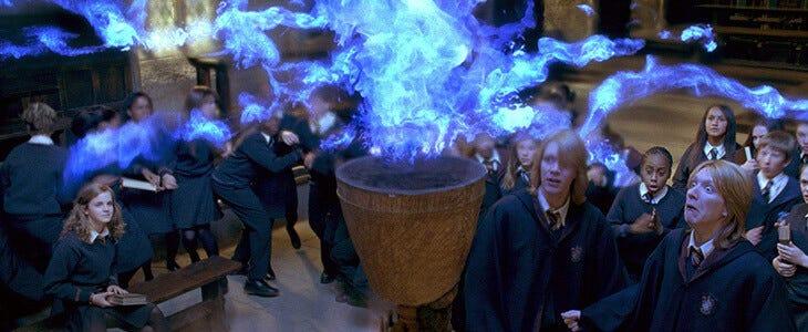 Les jumeaux Weasley dans Harry Potter et la Coupe de Feu