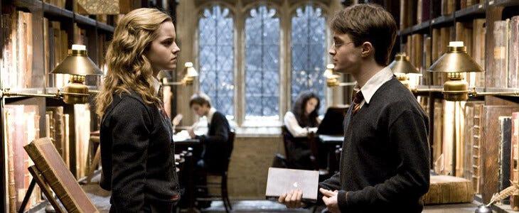 Emma Watson et Daniel Radcliffe dans Harry Potter et le Prince de Sang-Mêlé