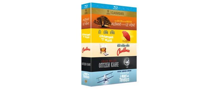 Coffret 5 films iconiques classiques - Autant en emporte le vent - Chantons sous la pluie - Casablanca - Citizen Kane - la mort aux trousses